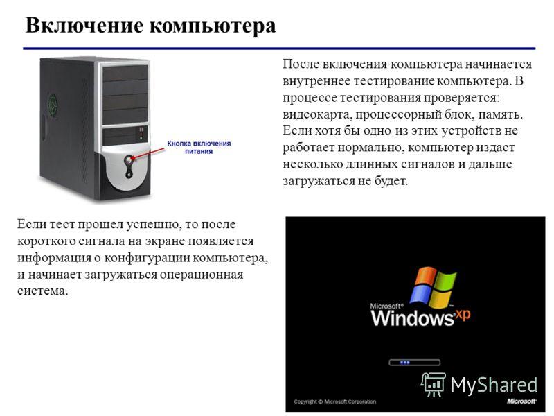 Включение компьютера После включения компьютера начинается внутреннее тестирование компьютера. В процессе тестирования проверяется: видеокарта, процессорный блок, память. Если хотя бы одно из этих устройств не работает нормально, компьютер издаст нес