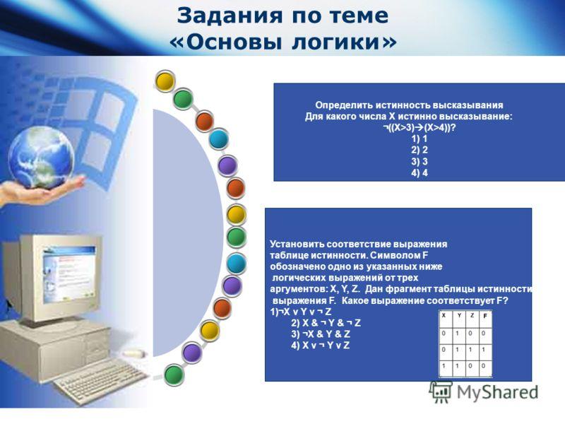 www.themegallery.com Company Logo Задания по теме «Основы логики» Определить истинность высказывания Для какого числа Х истинно высказывание: ¬((Х>3) (X>4))? 1) 1 2) 2 3) 3 4) 4 Установить соответствие выражения таблице истинности. Символом F обознач