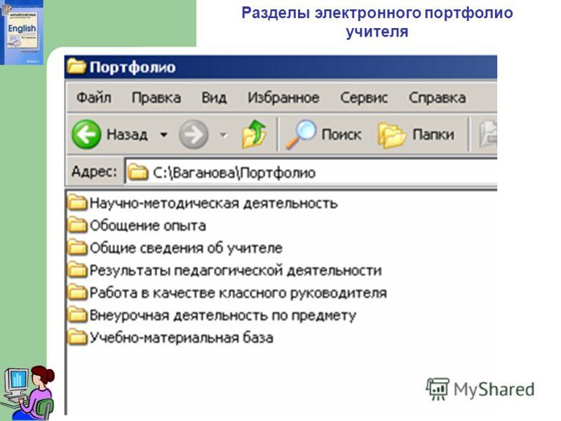 Разделы электронного портфолио учителя