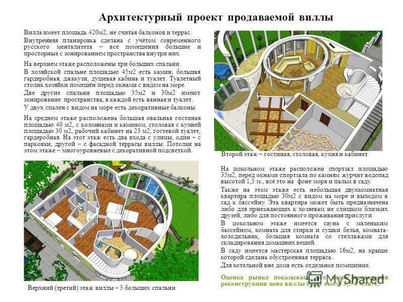 Архитектурный проект продаваемой виллы Вилла имеет площадь 420м2, не считая балконов и террас. Внутренняя планировка сделана с учётом современного русского менталитета – все помещения большие и просторные с зонированием пространства внутри них. На ве
