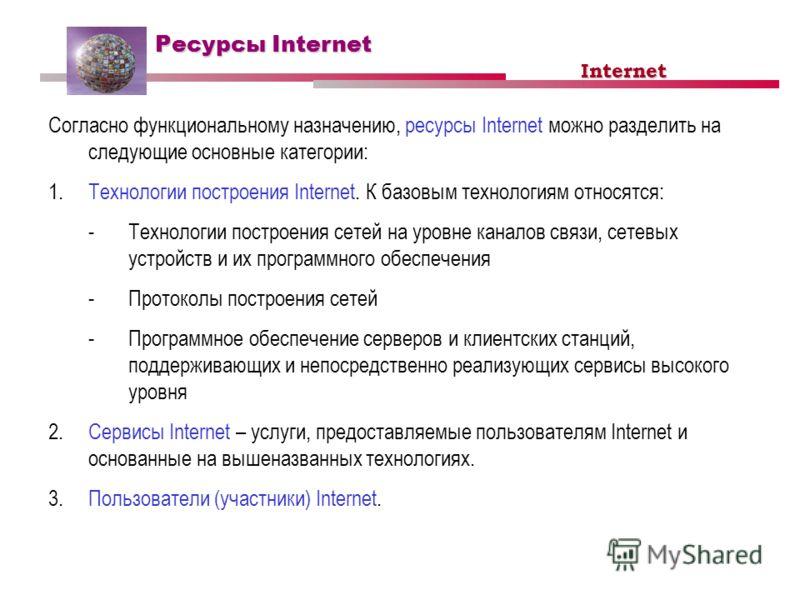 Ресурсы Internet Согласно функциональному назначению, ресурсы Internet можно разделить на следующие основные категории: 1.Технологии построения Internet. К базовым технологиям относятся: -Технологии построения сетей на уровне каналов связи, сетевых у