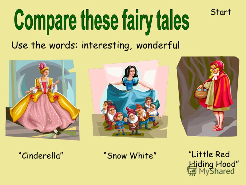 Use the words: interesting, wonderful CinderellaSnow White Little Red Hiding Hood Start