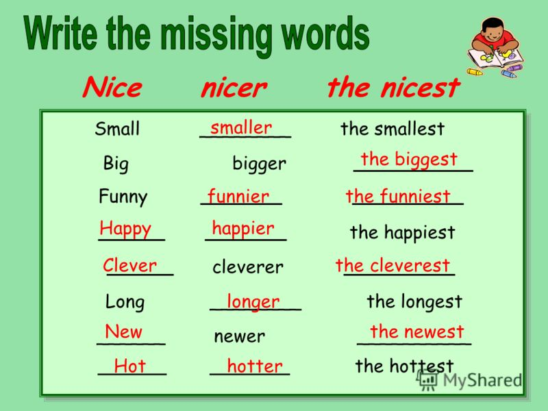Nice nicer the nicest Small ________ the smallest Big bigger ______________ Funny ___________ _______________ _________ ___________ the happiest _________ cleverer _______________ Long ________ the longest ______ newer __________ ______ _______ the h
