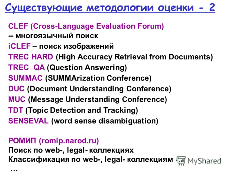 Существующие методологии оценки - 2 CLEF (Cross-Language Evaluation Forum) -- многоязычный поиск iCLEF – поиск изображений TREC HARD (High Accuracy Retrieval from Documents) TREC QA (Question Answering) SUMMAC (SUMMArization Conference) DUC (Document