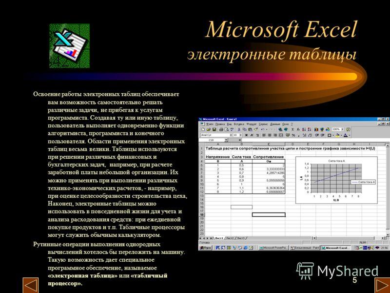 5 Microsoft Excel электронные таблицы Освоение работы электронных таблиц обеспечивает вам возможность самостоятельно решать различные задачи, не прибегая к услугам программиста. Создавая ту или иную таблицу, пользователь выполняет одновременно функци