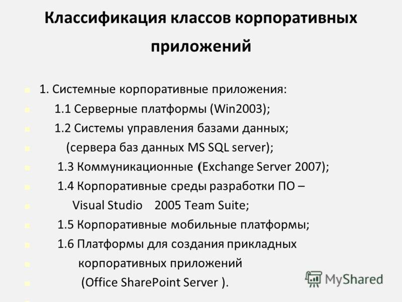 Классификация классов корпоративных приложений 1. Системные корпоративные приложения: 1.1 Cерверные платформы (Win2003); 1.2 Системы управления базами данных; (сервера баз данных MS SQL server); ( 1.3 Коммуникационные ( Exchange Server 2007); 1.4 Кор