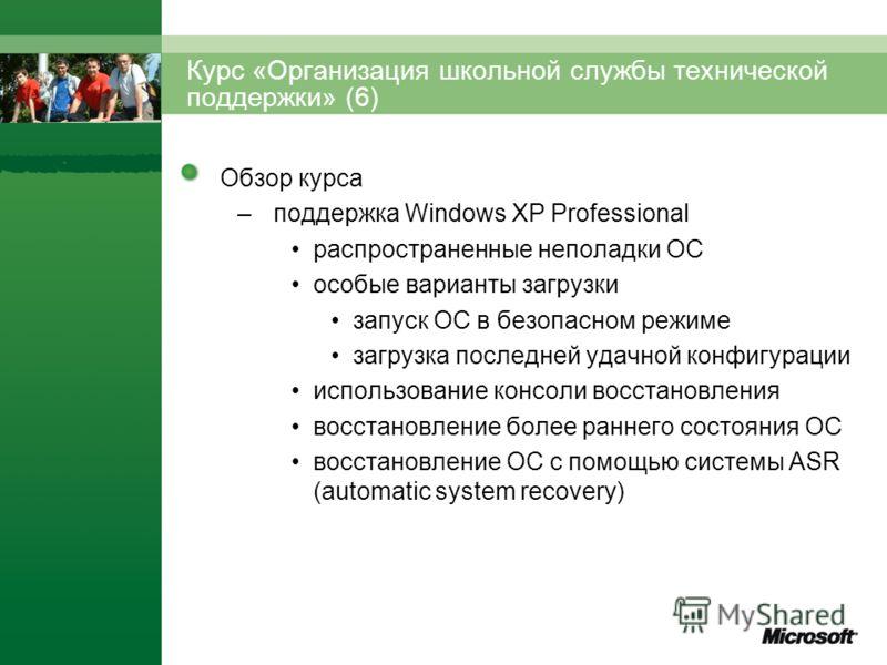 Обзор курса –поддержка Windows XP Professional распространенные неполадки ОС особые варианты загрузки запуск ОС в безопасном режиме загрузка последней удачной конфигурации использование консоли восстановления восстановление более раннего состояния ОС