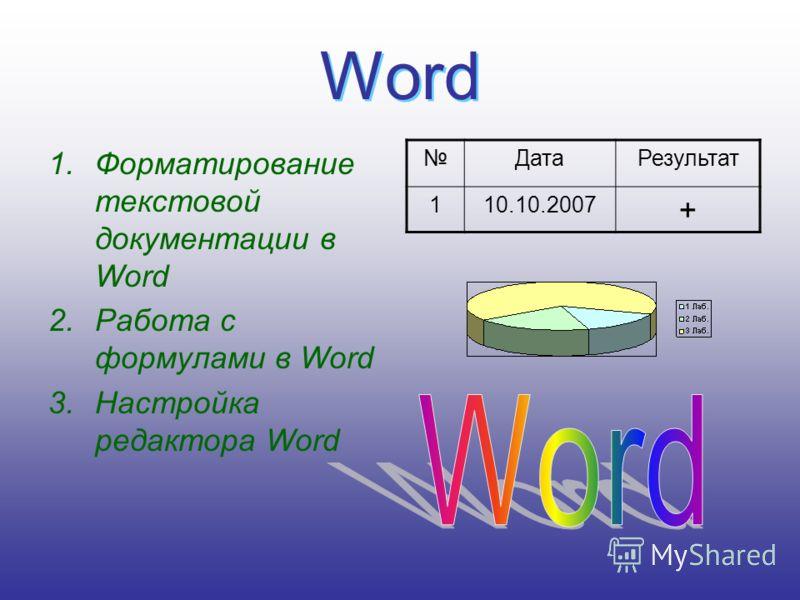 Word Word 1.Форматирование текстовой документации в Word 2.Работа с формулами в Word 3.Настройка редактора Word ДатаРезультат 110.10.2007 +