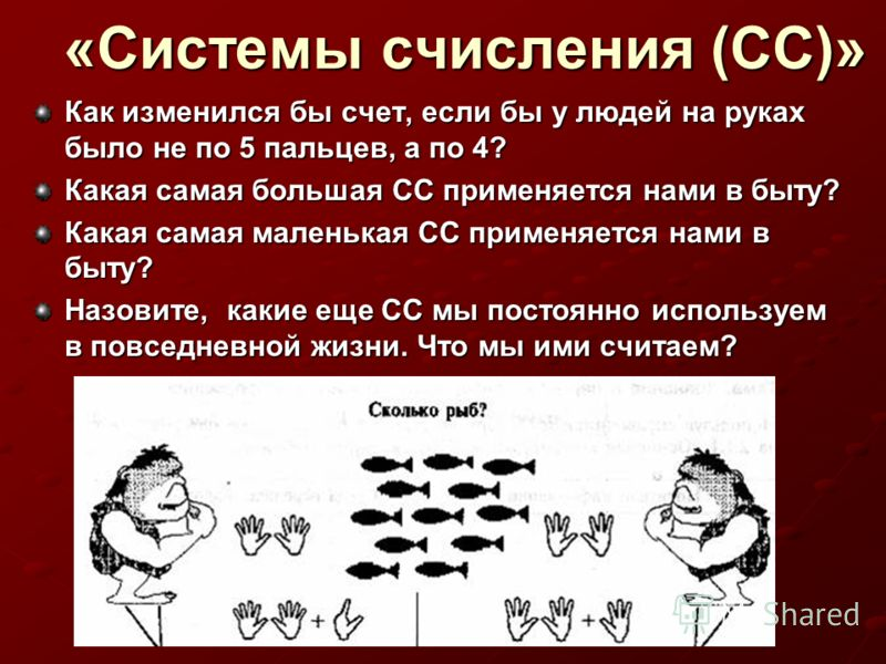 «Системы счисления (СС)» Как изменился бы счет, если бы у людей на руках было не по 5 пальцев, а по 4? Какая самая большая СС применяется нами в быту? Какая самая маленькая СС применяется нами в быту? Назовите, какие еще СС мы постоянно используем в