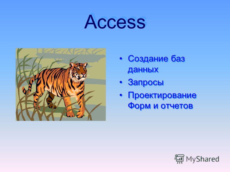 Access Access Создание баз данных Запросы Проектирование Форм и отчетов Создание баз данных Запросы Проектирование Форм и отчетов