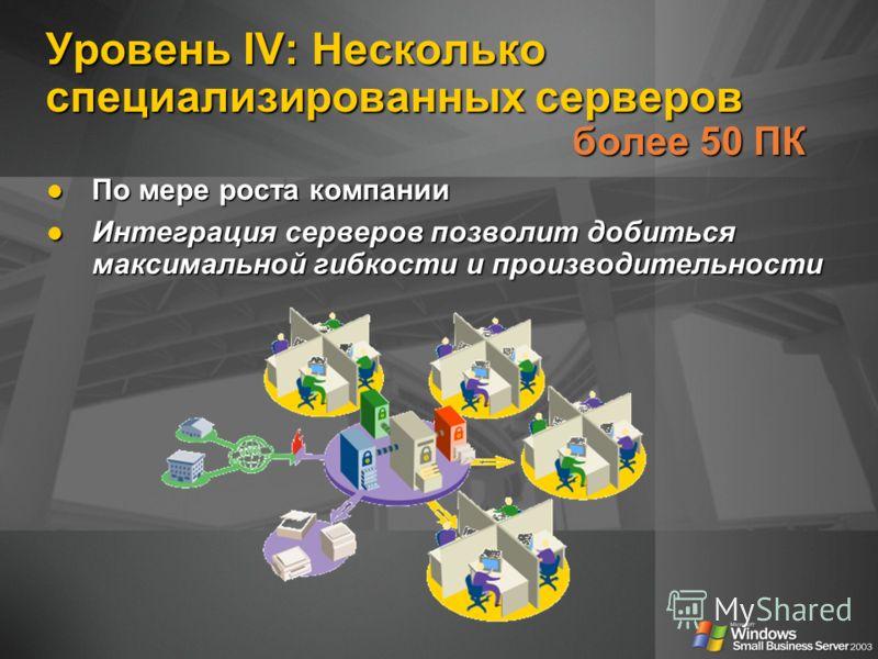 Уровень IV: Несколько специализированных серверов более 50 ПК По мере роста компании По мере роста компании Интеграция серверов позволит добиться максимальной гибкости и производительности Интеграция серверов позволит добиться максимальной гибкости и