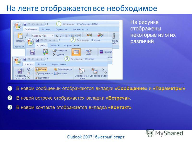 Outlook 2007: быстрый старт На рисунке отображены некоторые из этих различий. В новом сообщении отображаются вкладки «Сообщение» и «Параметры». В новой встрече отображается вкладка «Встреча». В новом контакте отображается вкладка «Контакт». На ленте