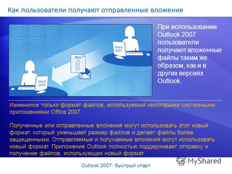 Outlook 2007: быстрый старт Как пользователи получают отправленные вложения При использовании Outlook 2007 пользователи получают вложенные файлы таким же образом, как и в других версиях Outlook. Изменился только формат файлов, используемый некоторыми