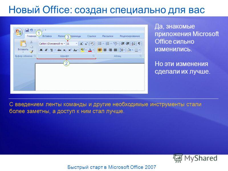 Да, знакомые приложения Microsoft Office сильно изменились. Но эти изменения сделали их лучше. С введением ленты команды и другие необходимые инструменты стали более заметны, а доступ к ним стал лучше. Быстрый старт в Microsoft Office 2007