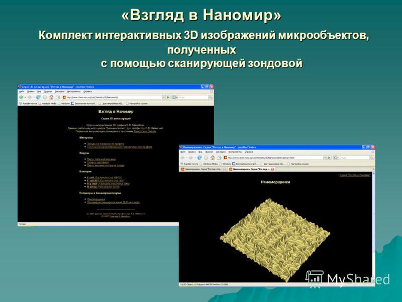 «Взгляд в Наномир» Комплект интерактивных 3D изображений микрообъектов, полученных с помощью сканирующей зондовой