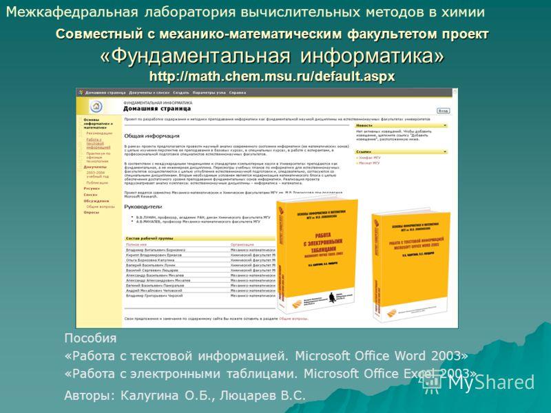 Совместный с механико-математическим факультетом проект «Фундаментальная информатика» http://math.chem.msu.ru/default.aspx Пособия «Работа с текстовой информацией. Microsoft Office Word 2003» «Работа с электронными таблицами. Microsoft Office Excel 2