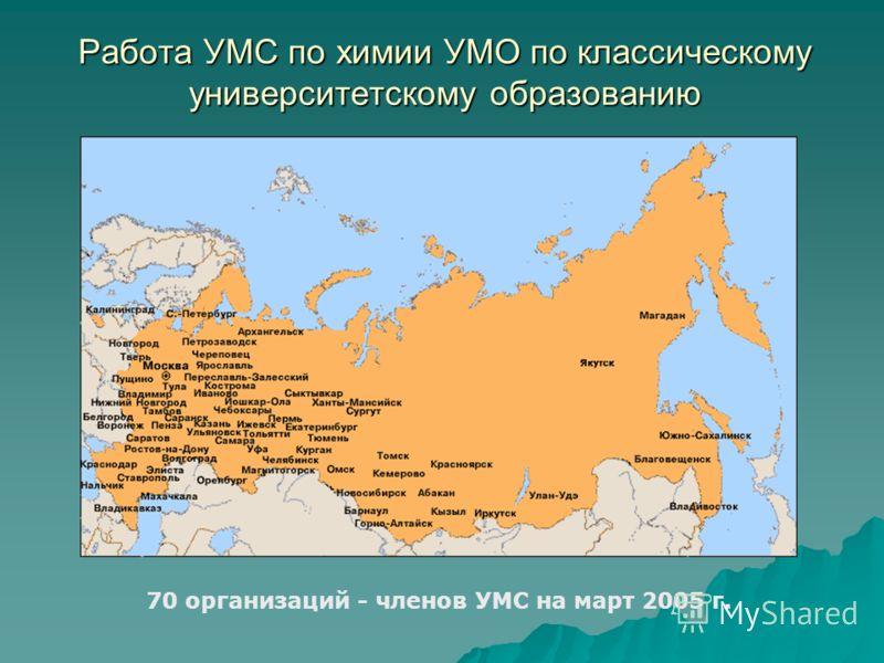 Работа УМС по химии УМО по классическому университетскому образованию 70 организаций - членов УМС на март 2005 г.
