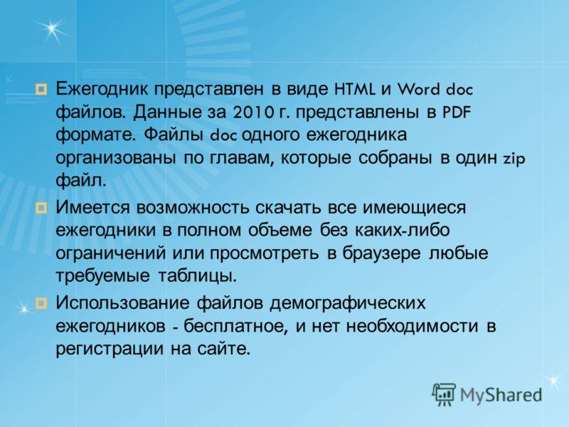 Ежегодник представлен в виде HTML и Word doc файлов. Данные за 2010 г. представлены в PDF формате. Файлы doc одного ежегодника организованы по главам, которые собраны в один zip файл. Имеется возможность скачать все имеющиеся ежегодники в полном объе