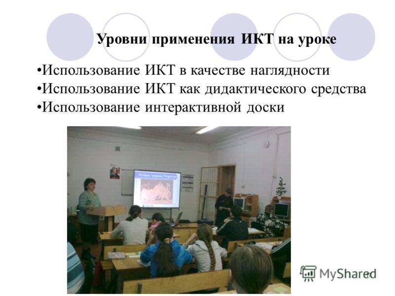 17 Уровни применения ИКТ на уроке Использование ИКТ в качестве наглядности Использование ИКТ как дидактического средства Использование интерактивной доски