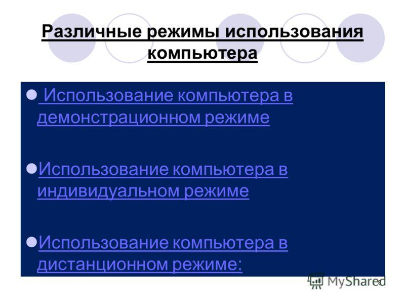 8 Различные режимы использования компьютера Использование компьютера в демонстрационном режиме Использование компьютера в демонстрационном режиме Использование компьютера в индивидуальном режиме Использование компьютера в индивидуальном режиме Исполь