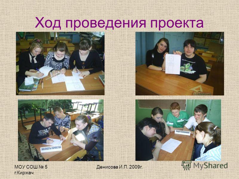 МОУ СОШ 5 г.Киржач Денисова И.П. 2009г. Ход проведения проекта