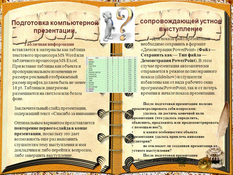 Подготовка компьютерной презентации, сопровождающей устное выступление Табличная информация вставляется в материалы как таблица текстового процессора MS Word или табличного процессора MS Excel. При вставке таблицы как объекта и пропорциональном измен