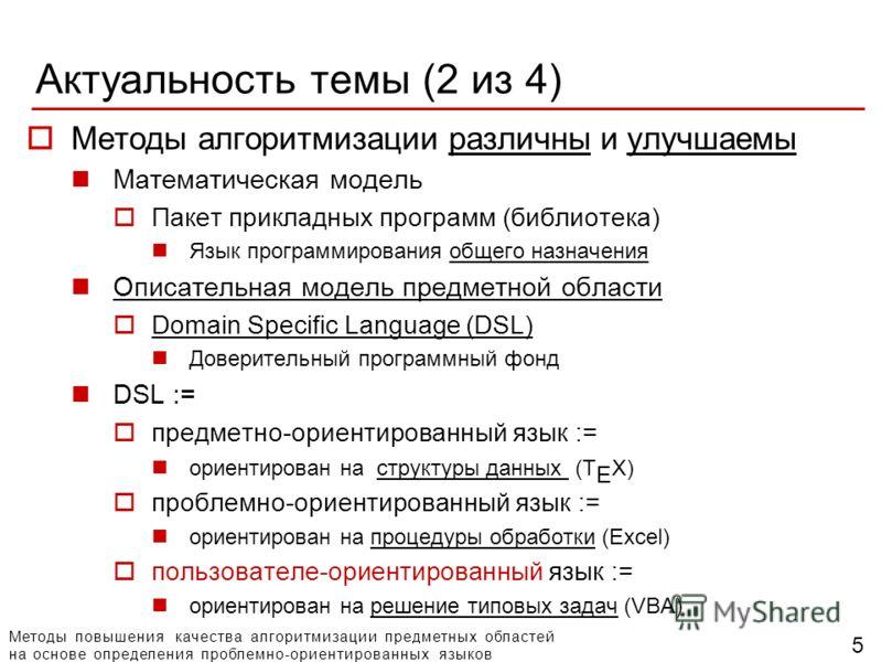 Методы повышения качества алгоритмизации предметных областей на основе определения проблемно-ориентированных языков Актуальность темы (2 из 4) Методы алгоритмизации различны и улучшаемы Математическая модель Пакет прикладных программ (библиотека) Язы