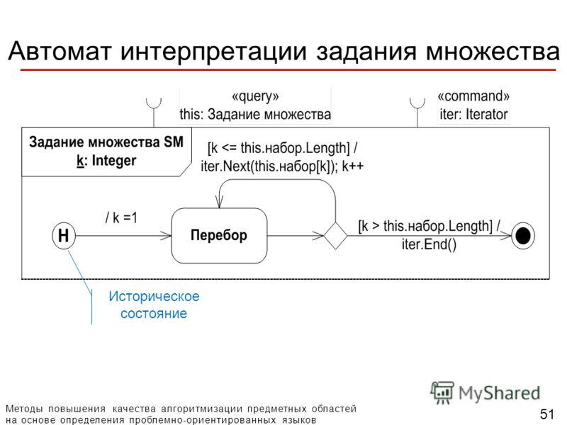 Методы повышения качества алгоритмизации предметных областей на основе определения проблемно-ориентированных языков 51 Автомат интерпретации задания множества Историческое состояние