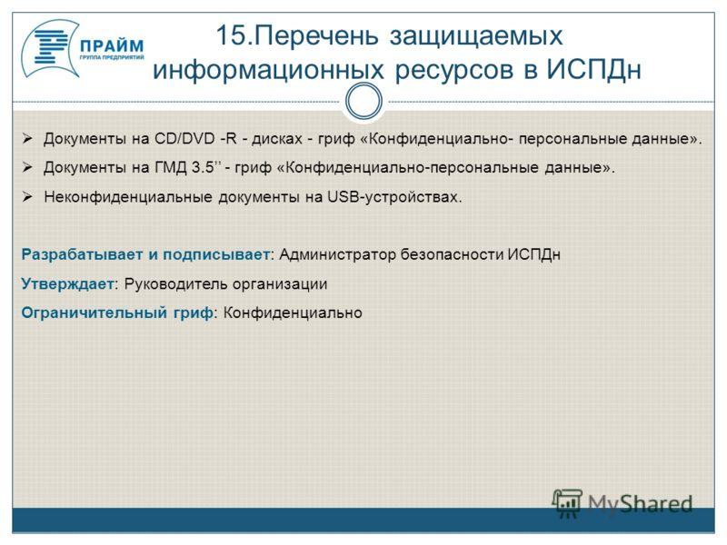 15.Перечень защищаемых информационных ресурсов в ИСПДн Документы на CD/DVD -R - дисках - гриф «Конфиденциально- персональные данные». Документы на ГМД 3.5 - гриф «Конфиденциально-персональные данные». Неконфиденциальные документы на USB-устройствах.
