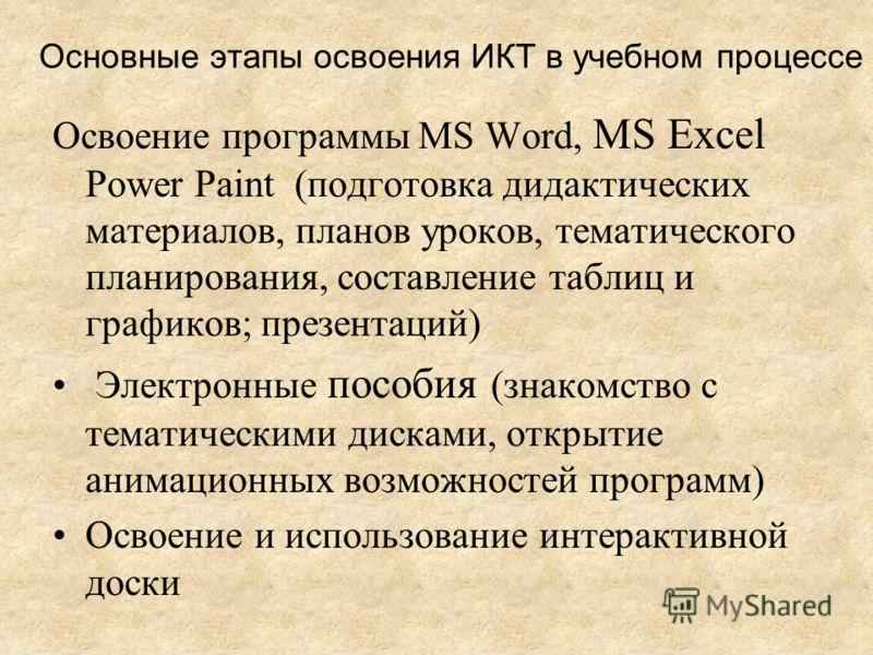 Основные этапы освоения ИКТ в учебном процессе Освоение программы MS Word, МS Excel Power Paint (подготовка дидактических материалов, планов уроков, тематического планирования, составление таблиц и графиков; презентаций) Электронные пособия (знакомст