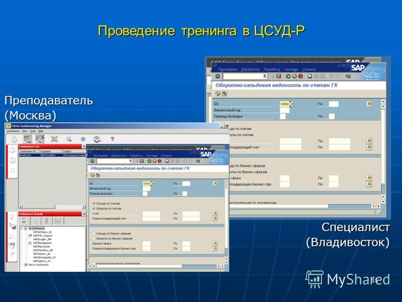 15 Проведение тренинга в ЦСУД-Р Преподаватель(Москва) Специалист (Владивосток) (Владивосток)
