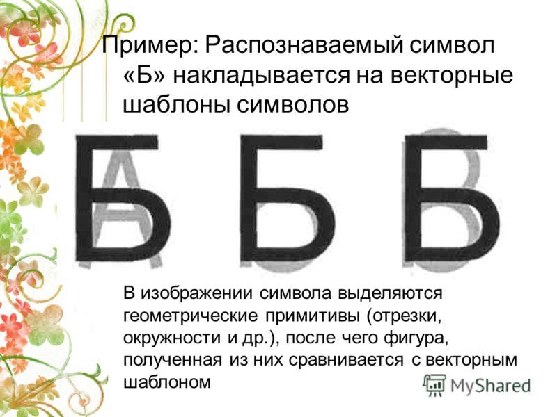 Пример: Распознаваемый символ «Б» накладывается на векторные шаблоны символов В изображении символа выделяются геометрические примитивы (отрезки, окружности и др.), после чего фигура, полученная из них сравнивается с векторным шаблоном