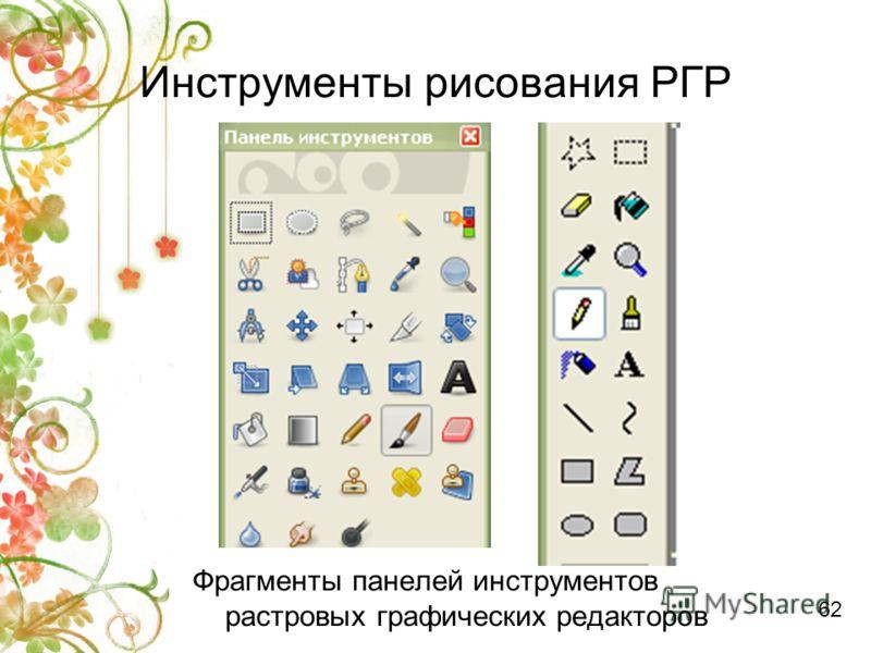 Инструменты рисования РГР Фрагменты панелей инструментов растровых графических редакторов 62
