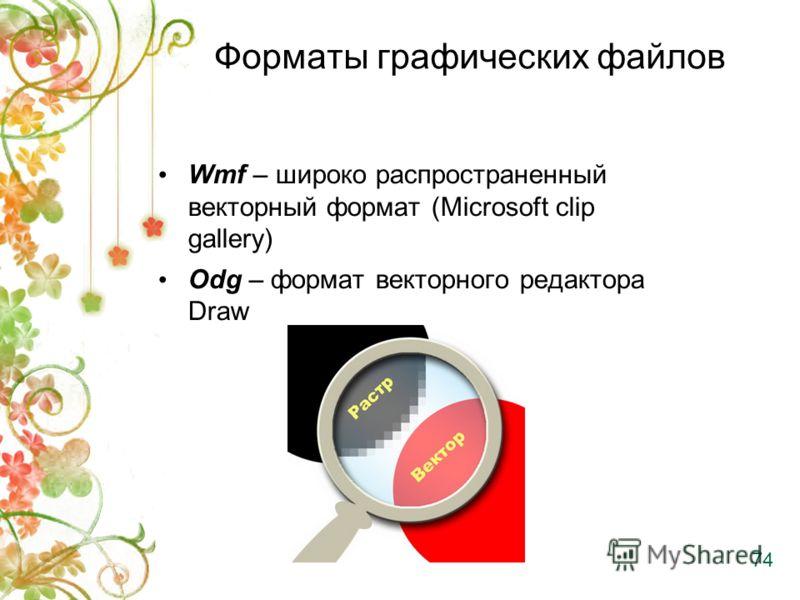 Форматы графических файлов Wmf – широко распространенный векторный формат (Microsoft clip gallery) Odg – формат векторного редакторa Draw 74