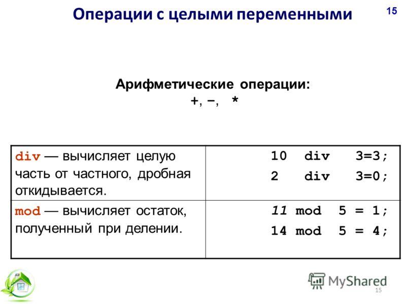 Арифметические операции: +,, * div вычисляет целую часть от частного, дробная откидывается. 10 div 3=3; 2 div 3=0; mod вычисляет остаток, полученный при делении. 11 mod 5 = 1; 14 mod 5 = 4; Операции с целыми переменными 15