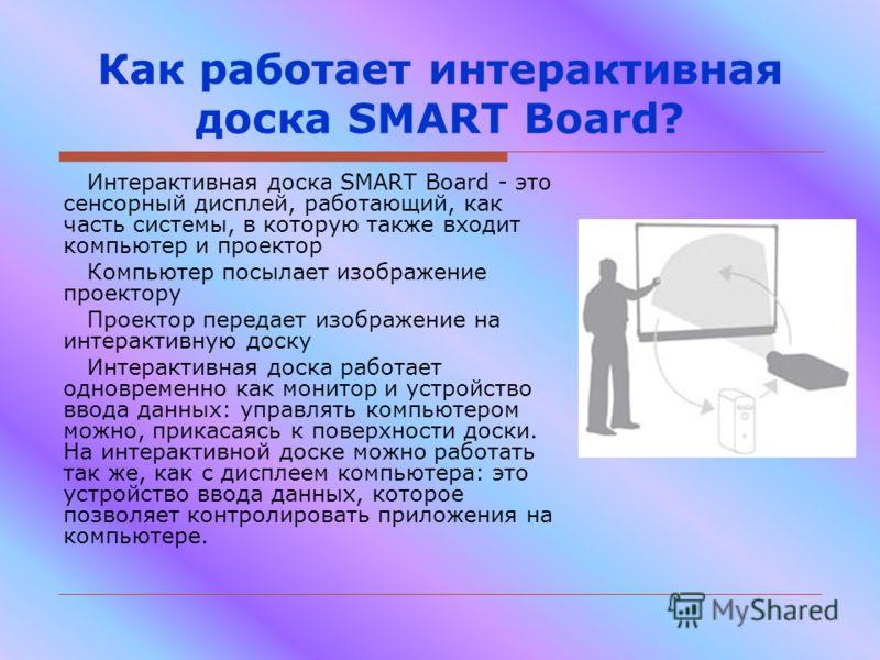 Как работает интерактивная доска SMART Board? Интерактивная доска SMART Board - это сенсорный дисплей, работающий, как часть системы, в которую также входит компьютер и проектор Компьютер посылает изображение проектору Проектор передает изображение н