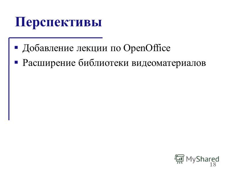 Перспективы Добавление лекции по OpenOffice Расширение библиотеки видеоматериалов 18