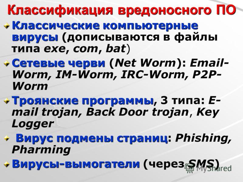 Классификация вредоносного ПО Классические компьютерные вирусы Классические компьютерные вирусы (дописываются в файлы типа exe, com, bat) Сетевые черви Сетевые черви (Net Worm): Email- Worm, IM-Worm, IRC-Worm, P2P- Worm Троянские программы Троянские