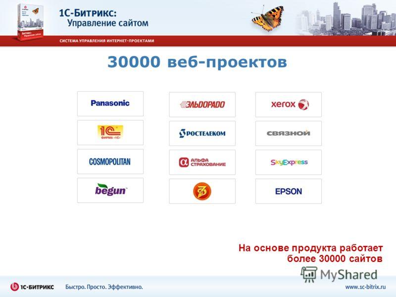 30000 веб-проектов На основе продукта работает более 30000 сайтов