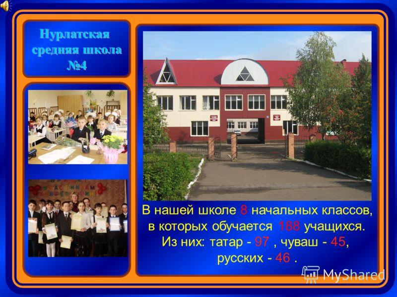 Нурлатская средняя школа 4 В нашей школе 8 начальных классов, в которых обучается 188 учащихся. Из них: татар - 97, чуваш - 45, русских - 46.