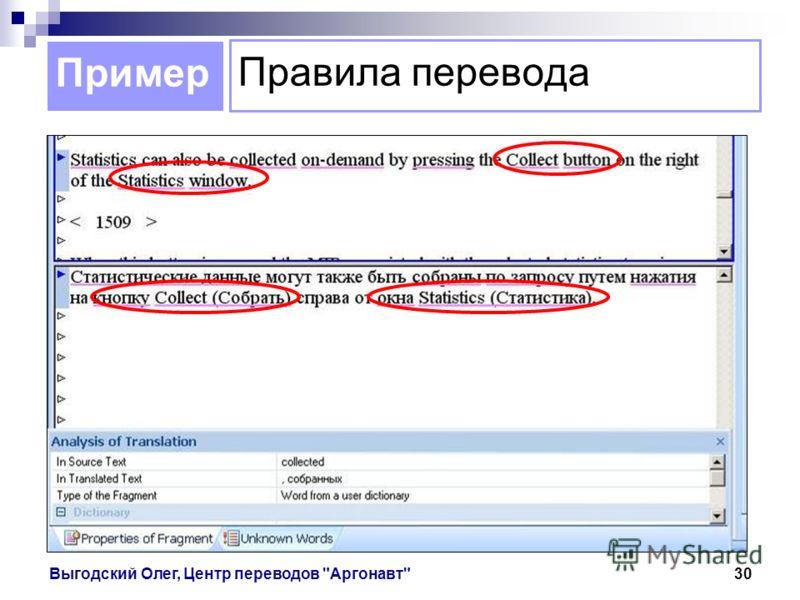 Пример Выгодский Олег, Центр переводов Аргонавт30 Правила перевода