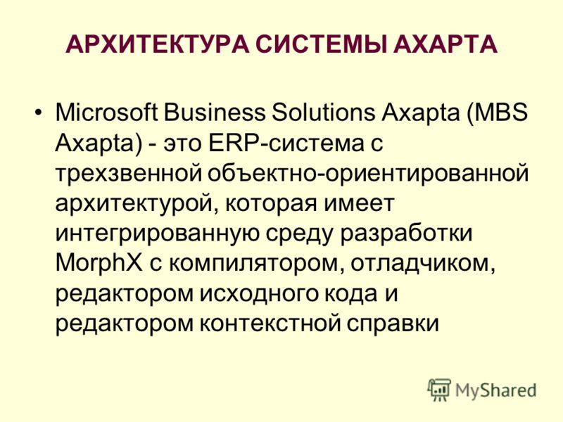 АРХИТЕКТУРА СИСТЕМЫ AXAPTA Microsoft Business Solutions Axapta (MBS Axapta) - это ERP-система с трехзвенной объектно-ориентированной архитектурой, которая имеет интегрированную среду разработки MorphX с компилятором, отладчиком, редактором исходного