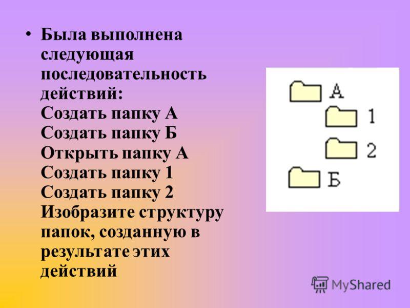 Была выполнена следующая последовательность действий: Создать папку А Создать папку Б Открыть папку А Создать папку 1 Создать папку 2 Изобразите структуру папок, созданную в результате этих действий