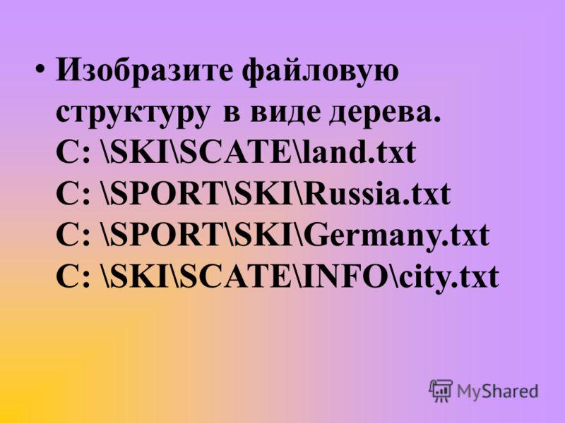 Изобразите файловую структуру в виде дерева. С: \SKI\SCATE\land.txt С: \SPORT\SKI\Russia.txt С: \SPORT\SKI\Germany.txt С: \SKI\SCATE\INFO\city.txt