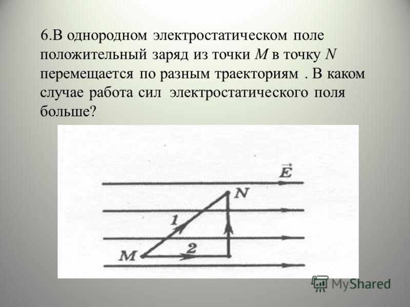 6.В однородном электростатическом поле положительный заряд из точки М в точку N перемещается по разным траекториям. В каком случае работа сил электростатического поля больше?