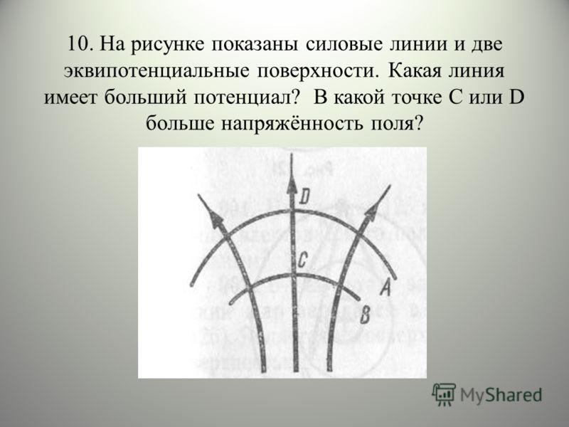 10. На рисунке показаны силовые линии и две эквипотенциальные поверхности. Какая линия имеет больший потенциал? В какой точке С или D больше напряжённость поля?