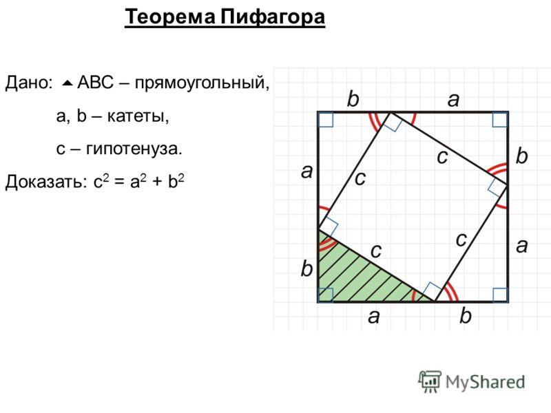 Дано: АВС – прямоугольный, а, b – катеты, с – гипотенуза. Доказать: с 2 = а 2 + b 2 Теорема Пифагора