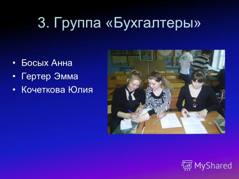 3. Группа «Бухгалтеры» Босых Анна Гертер Эмма Кочеткова Юлия