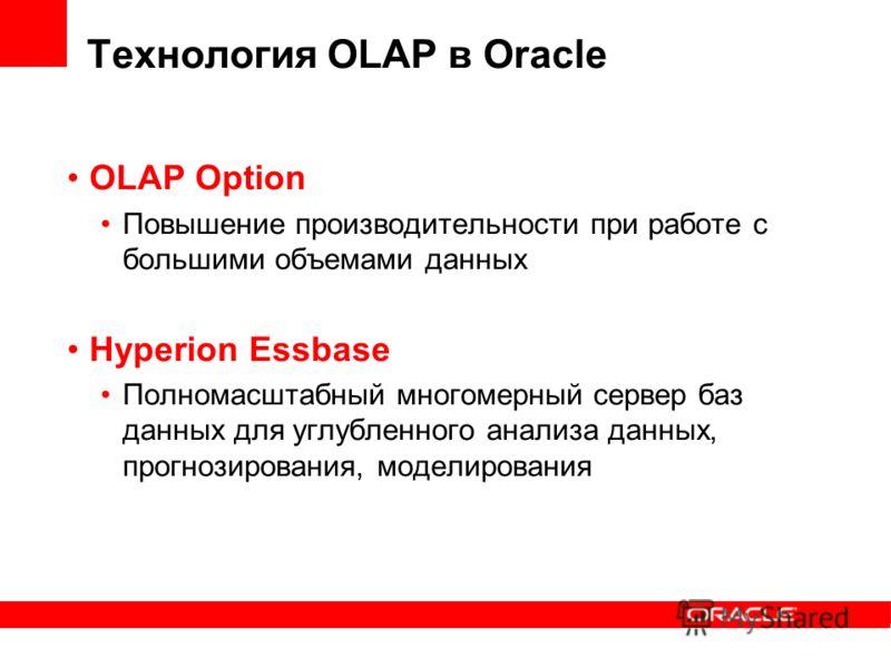 Технология OLAP в Oracle OLAP Option Повышение производительности при работе с большими объемами данных Hyperion Essbase Полномасштабный многомерный сервер баз данных для углубленного анализа данных, прогнозирования, моделирования
