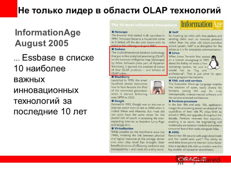 InformationAge August 2005... Essbase в списке 10 наиболее важных инновационных технологий за последние 10 лет Не только лидер в области OLAP технологий